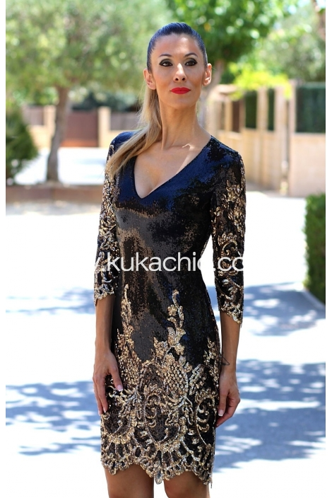 AYANA DRESS GOLD & BLACK