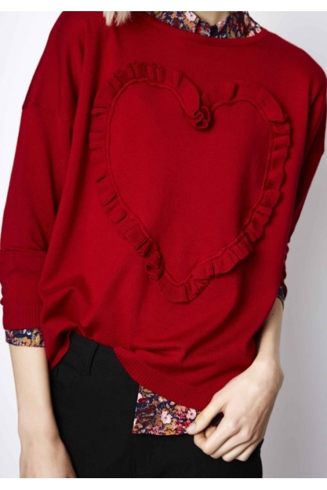 SUETER HEART LADIES RED