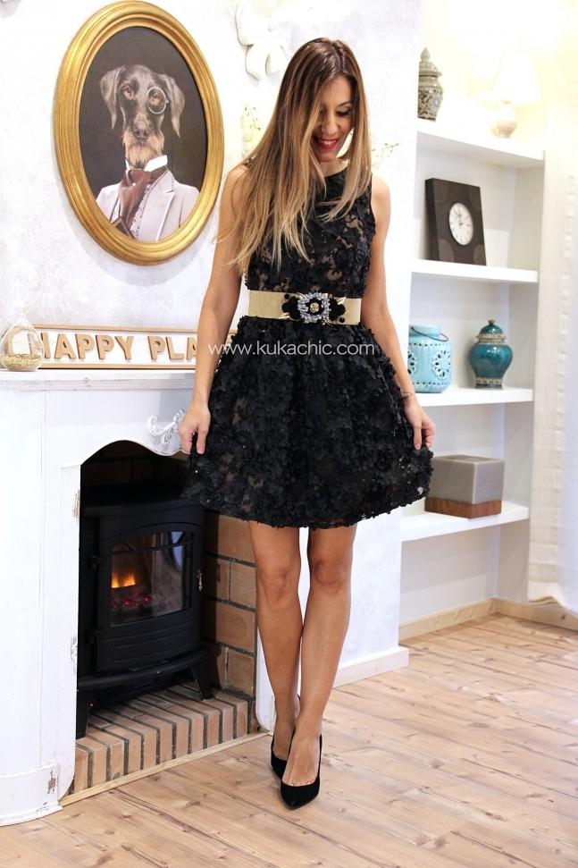 BLACK FLOWERS PARTY DRESS