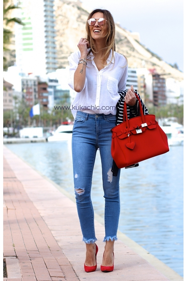 CUT OFF SKINNY FIT JEANS