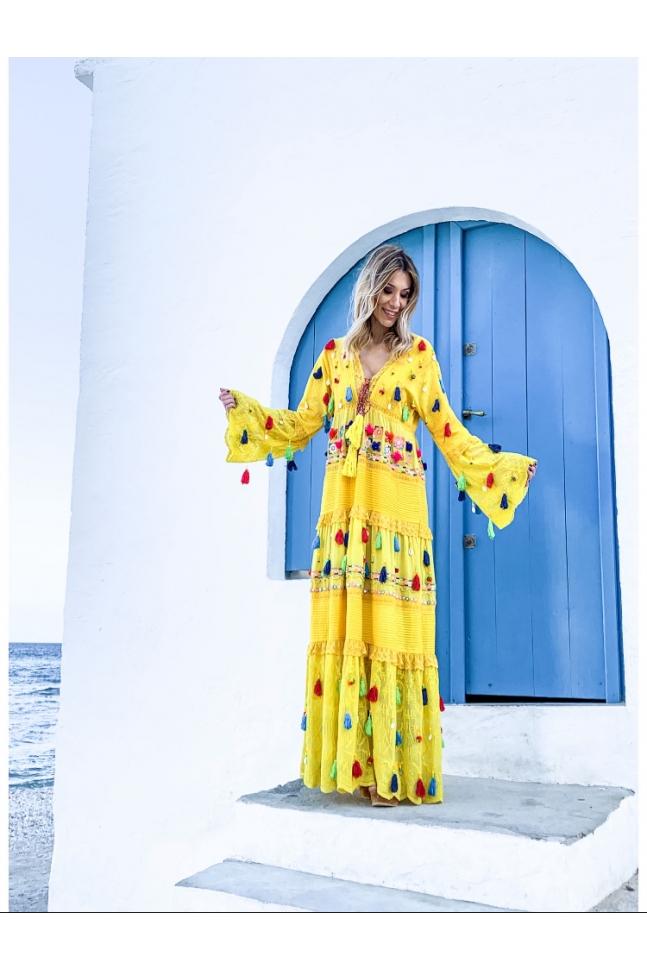 HANDMADE LONG YELLOW DRESS